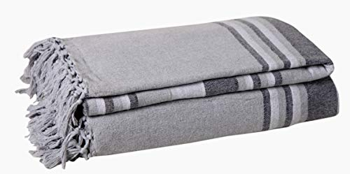 Manta de rayas con patrón de Kerala con textura de algodón natural Kerala para sofá, sillón, colcha, sofá, tiro individual, 150 x 200 cm