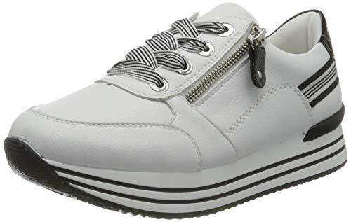 Remonte Damen D1312 Sneaker, Weiss/Black / 80,45 EU Weit