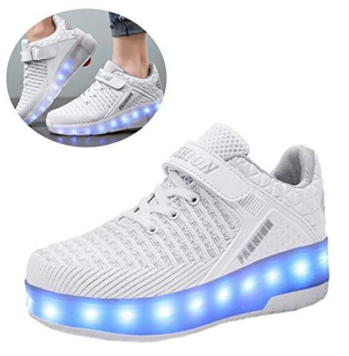 ZCXBHD LED Rollschuhschuhe , Outdoor Gymnastik Fashion Sneaker Kids Technische Skateboardschuhe Mit USB-Aufladung,Single Round 36