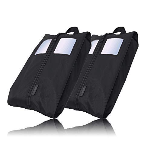 TRAVEL DUDE Set da 2 Porta Scarpe da Viaggio | Borse per Scarpe in Nylon | ideali per Viaggiare | resistente alla luce e all'acqua (Nero, Set borse da scarpe)