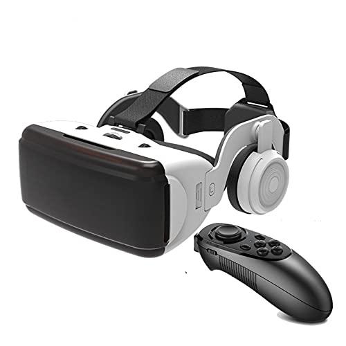 YMXLXL 3D VR Gafas de Realidad Virtual, VR Glasses Visión Panorámico 360 Grado Película 3D Juego Immersivo para Móviles 4.7-6Pulgada,Gafas VR con Auriculares,A
