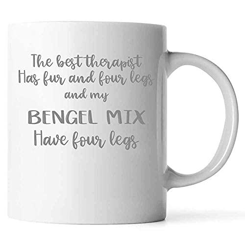 N\A l Mejor Terapeuta Tiene Piel y Cuatro Patas, Taza de café Bengel Mix, Ideas únicas para los Amantes de los Gatos, dueños de Gatos, cerámica (Blanco,)