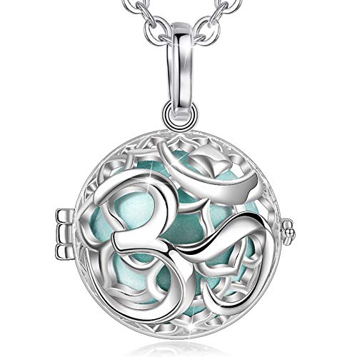 Eudora Angel Caller Harmony Ball Necklaces for Women OM Symbol Ladies Classic Pendant Jewellery Ladies Women 76.2 cm + 114.3 cm Sea green