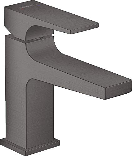 hansgrohe Metropol 32500340 - Grifo monomando para lavabo (100 mm, con palanca para lavabo, con desagüe push-abierto), color negro y cromado