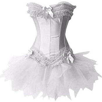 Pandolah Halloween Sexy Lingerie Fashion Lace up Corset Bustier Tutu Petticoat Skirt  US Size 10-12  2XL  White 1