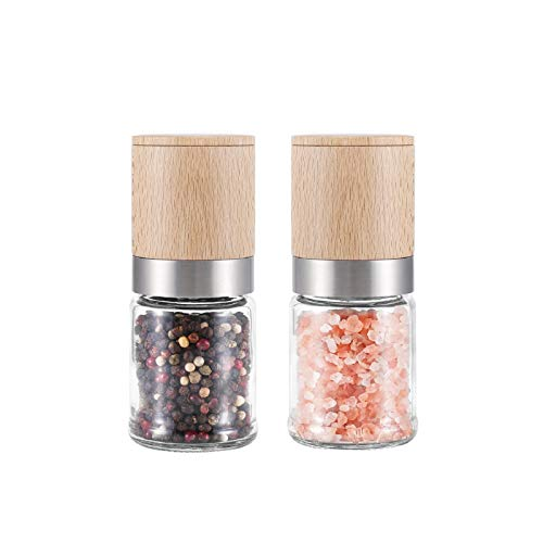VKCHEF ペッパーミル 胡椒ミル 小さい ソルトミル 木製 手動 岩塩 ミル ブナ木製 調味料ミル こしょう コショウミル 粗さ挽き調節可能 結晶塩 スパイスミル セラミック ミル キッチン用品 2個セット ギフト