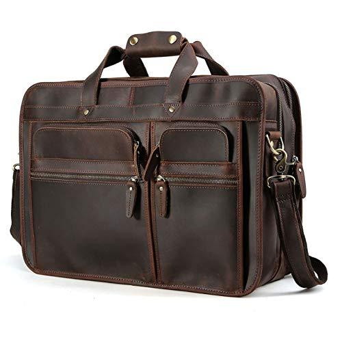 TIDING Leder Aktentasche für Herrentasche 15.6 Laptoptasche Office, Leder Umhängetasche mit Trolly Strap Vollnarbenleder mit Premium YKK Reißverschlüssen Braun