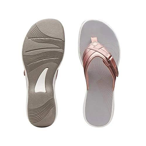 WUHUI Sandalias Planas Mujer, Cuña de Verano para Mujer con Zapatos de Playa, Pink_39, Zapatillas de Mujer Antideslizantes