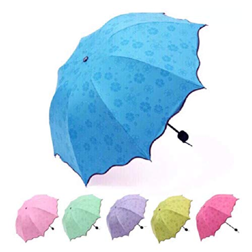 Xcwsmdq Paraguas Mini portátil Encuentro Agua de floración protección UV Paraguas Señora Sunny Color sólido Paraguas de Sol a Prueba de Viento de Viaje Paraguas Ropa de Lluvia (Color : Random Color)