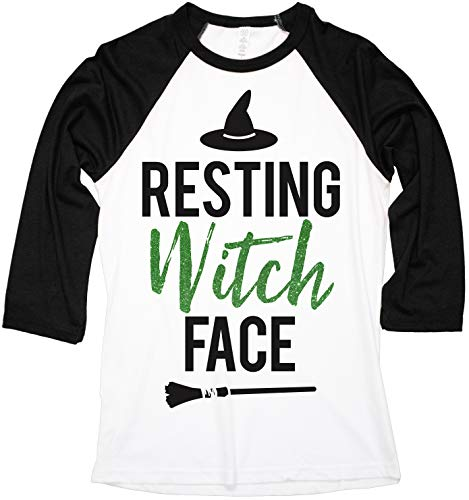 NoBull Woman Apparel Resting Witch Face Halloween Baseball Tee (Small)
