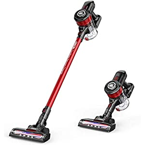 ONSON Cordless Vacuum Cleaner, Vacuum Cleaner, 12000pa Powerful Suction 2 in 1 Stick Vacuum for Hardwood Floor Carpet Pet Hair, Rechargeable Lithium Ion Battery, Red