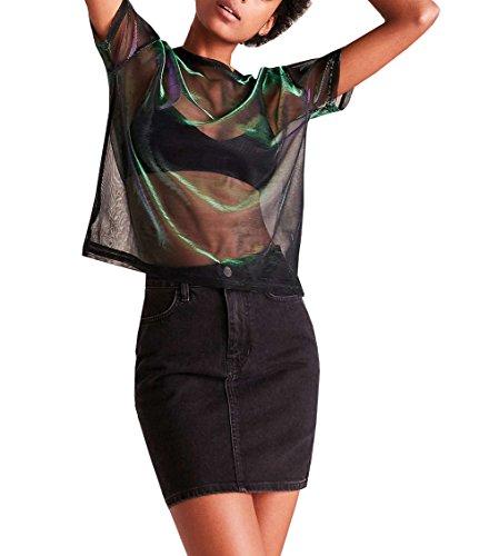 Farktop Music Festival Women's Sexy Metallic Shimmer Mesh Tee Short Sleeve See Through Mesh Blouse Tops Tee Shirt