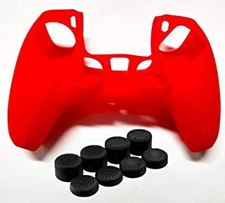 SKEIDO Silicone Case Protective Cover With 8PCS Joystick Thumb Stick Grips Cap for PS5 - Red
