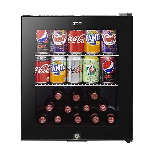 Baridi Mini Wine/Drink/Beverage Cooler/Fridge, Built-In Thermostat, LED Light, Security Lock, Energy Class A+, 46 Litre - Black