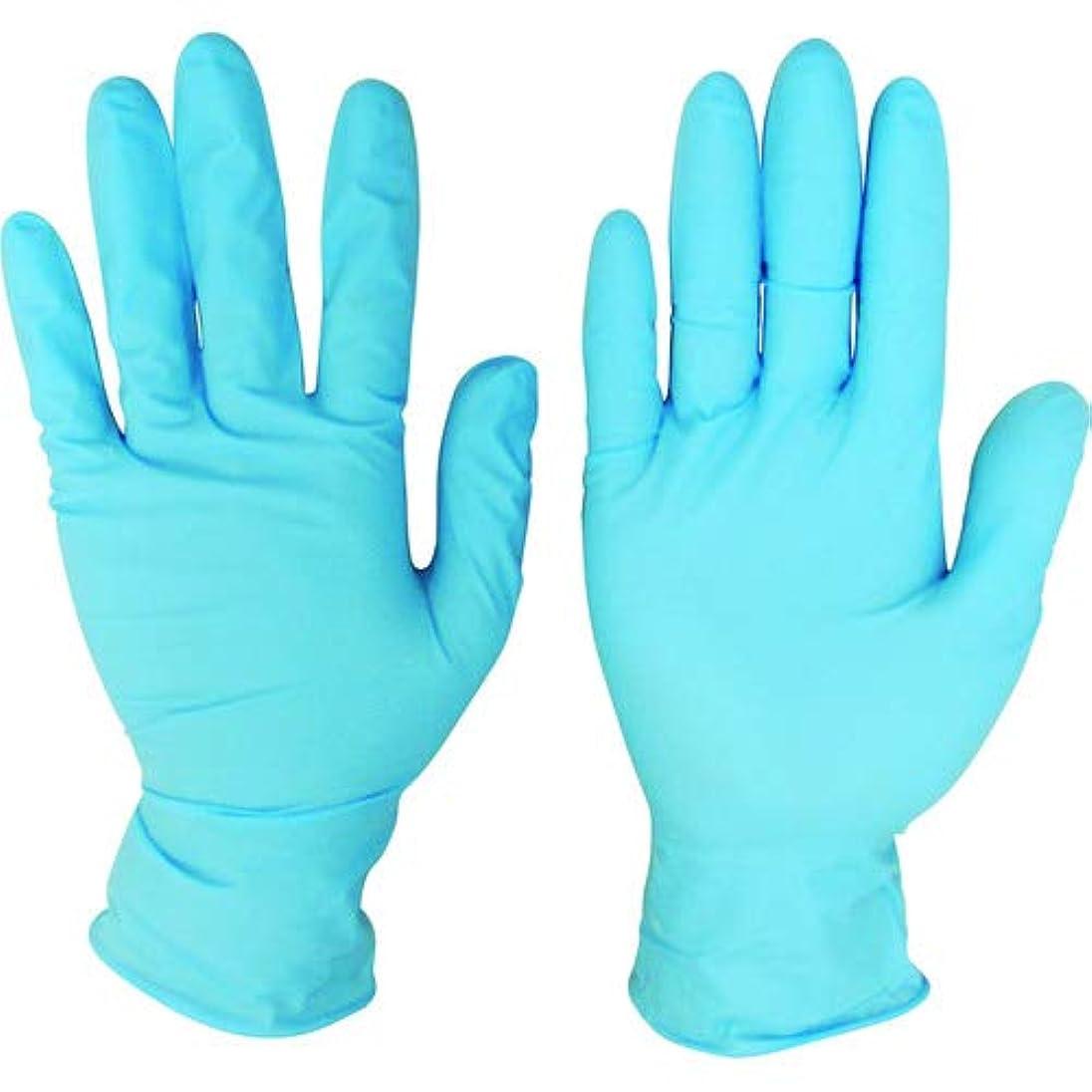 熟すまつげ持つニトリルディスポ手袋 青 No.210 パウダーフリー(100枚入)L