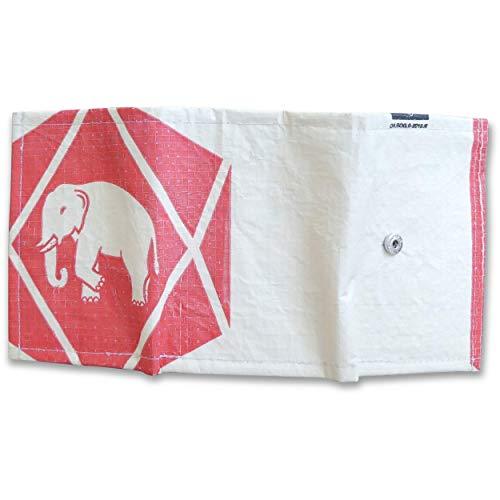 Upcycling Brieftasche 2-Fach faltbar aus recyceltem Zement-/Fischfutter-/Reissack, Farbe/Aufdruck:Elefant Neu Beige-Rot