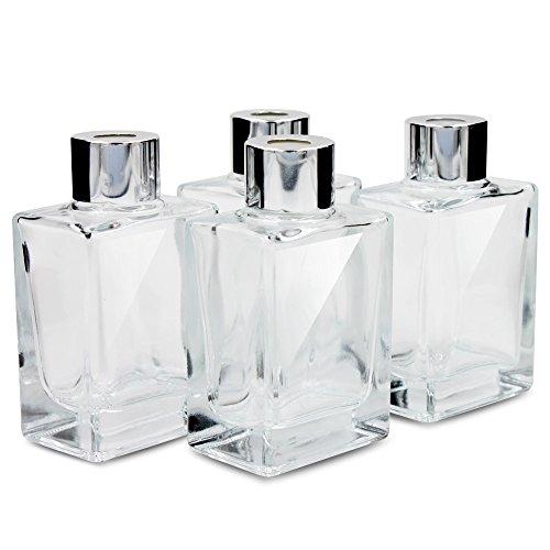 Botellas difusoras de láminas de vidrio para difusor de láminas con tapas Juego de 4 a 3.35 pulgadas de altura, 70 ml de 2.36 onzas. Uso de accesorios de fragancia para juegos de difusores de láminas