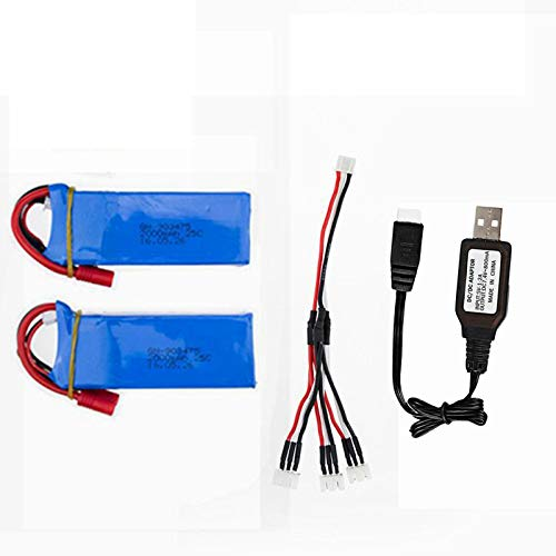 7.4V 2000mAh Lipo Battery for DRC-446 Syma X8C X8W X8G HQ899 RC Quadcopter Parts X8C Battery 2 Pack with USB Charger