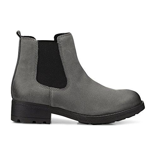 Cox Damen Chelsea Boots aus Leder in Grau, gefütterte Winterstiefel mit Profilsohle Grau Rauleder 37