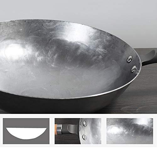 41PHLDzG2gL - YWSZJ Woks Traditionelles Eisen Wok Handgemachtes Großes Wok & Holzgriff Antihaft-Wok-Gaskochfeld Pfanne Küchenkochgeschirr (Size : 36cm)