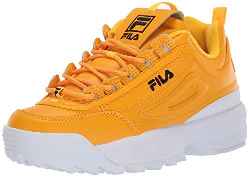 Fila Women's Disruptor II Premium Sneakers, Gold Fusion/Black/White, 6 Medium US