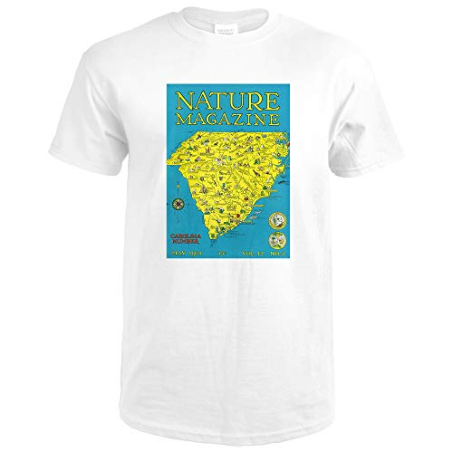 Nature Magazine, Detailed Map of North and South Carolina States with Scenic Spots to Visit 30026 (Premium White T-Shirt Medium)