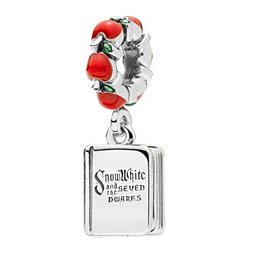 Angelazy 925 zilveren kraal bedeltje voor dames, mode schattig rood appel Engels boek vorm fit armband ketting bedeltjes voor dames/meisje verjaardag cadeau jurk Collocation Festival aanwezig