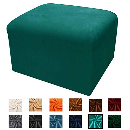 Argstar Velvet Ottoman Protector, Hassock Cover Rectangle, Slipcover Elastic for Sofa Sets, Teal