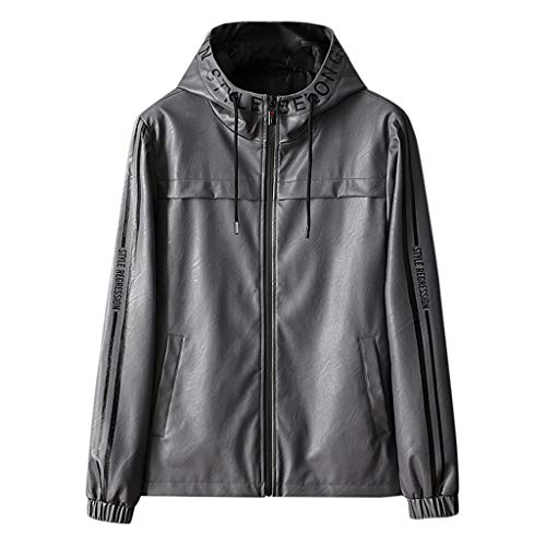 Faux Leather Jacket Men's Autumn Casual Red Leather Jacket Fashion Patchwork Hoodie Imitation Faux Leather Jacket Coat