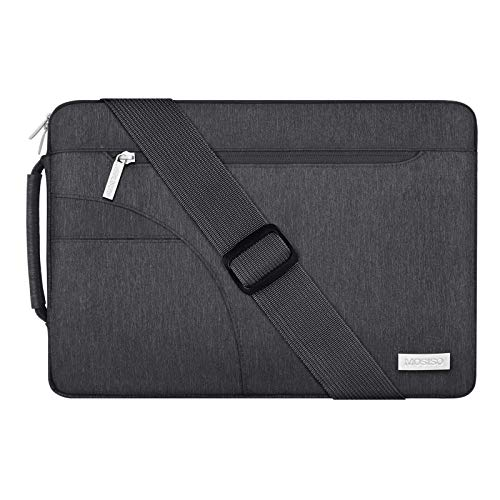MOSISO Laptop Shoulder Bag Compatible with MacBook Pro/Air 13 inch, 13-13.3 inch Notebook Computer, Polyester Briefcase Sleeve with Side Handle, Space Gray