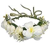 Flower Diadema Flor Ajustable Crown Crown Muchacha Accesorios para El Cabello Guirnalda Pieza De La Guirnalda Artificial Ratán Guirnalda Tocado Pelo De Novia Accesorios para Mujer Crema Color