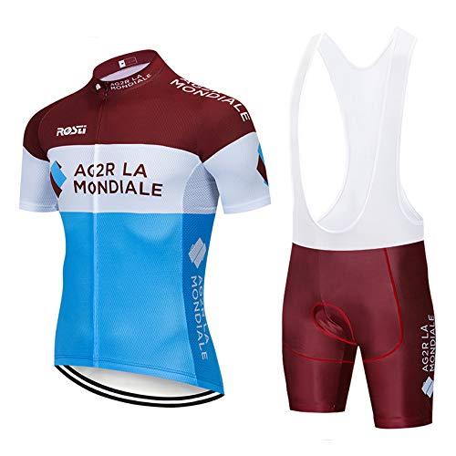 TeckBoo Conjunto de ciclismo de hombre para hombre, ropa deportiva para bicicleta, verano, camiseta de ciclismo de manga corta y transpirable, pantalones cortos de ciclismo con cojín 5D