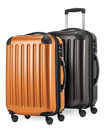 HAUPTSTADTKOFFER - Alex - 2 x Handgepäck Hartschale glänzend, 55 cm, 42 Liter, Graphit-Orange
