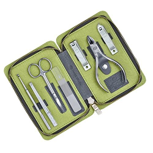 WYFC Set de manicura -7 en 1 Pedicura Profesional Set de uñas Scissors Kit de Aseo con Facial, cutícula y Cuidado de uñas Viajes portátiles (Color : Green)
