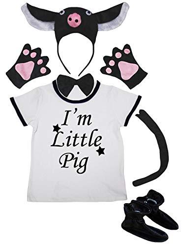 Petitebelle I'm Little Pig White Shirt Black Pig - Zapatos de diadema (6 piezas, 1 a 2 años), color negro