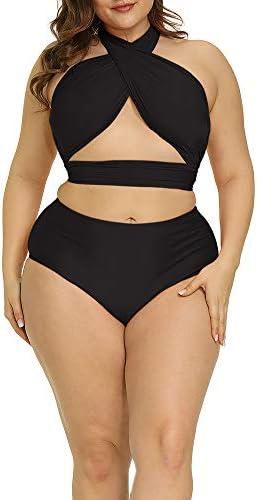 Allegrace Women Plus Size Swimsuit Self Tie Bikini Sets Two Piece Backless Swimwear Black 1X product image