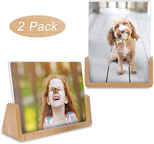 Teamkio 2 Pack Bilderrahmen 13x18CM Holz Fotorahmen mit Acryl Design Nordischer Natur Buche Massivholz und Transparenten Hochauflösend Acryl für Bildanzeige im Haus/Büro (Horizontal + Vertikal)