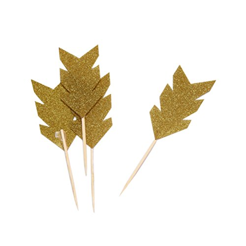 Mybbshower Glitter Gold Feather Cupcake Toppers for Wedding Cake Decoration Pack of 24