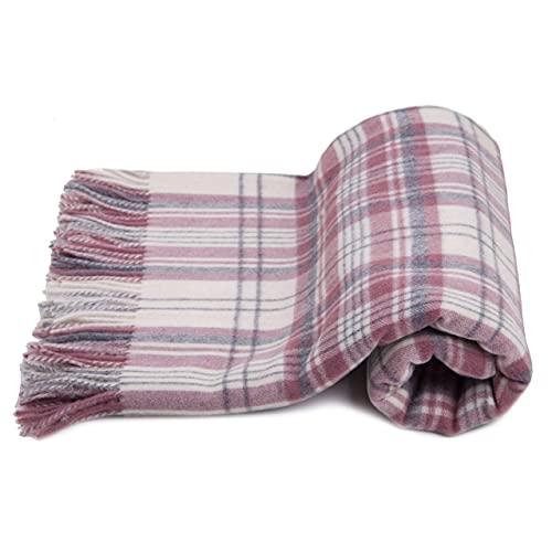 Manta escocesa 100 % pura lana medida 150 x 180 cm (blanco rosa)