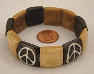 ~ Water Buffalo Bone PEACE Bracelet Nepal ~