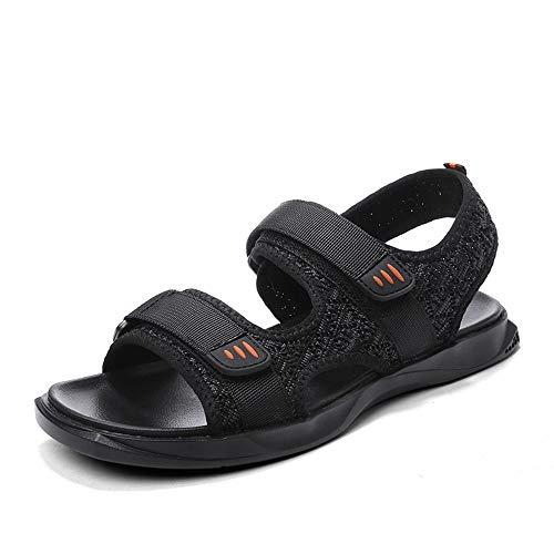 Sandalias de cuero Sandalias para hombre Zapatos de playa transpirables Punta abierta Moda de verano Sandalias Sandalias de punto Hojas de huelga y correas de lazo antideslizante Sandalias de playa