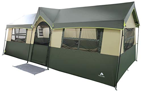 Spacious and Comfortable Ozark Trail Hazel Creek 12 Person Cabin Tent,with Two Closets with Hanging...
