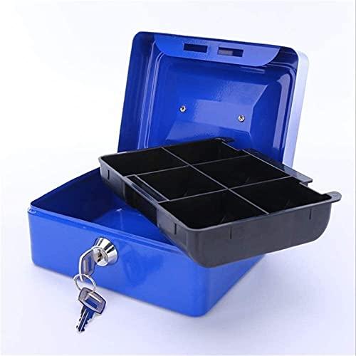 XINKONG Adultos niños Seguros Dinero Ahorro Moneda Caja de Monedas decoración de Almacenamiento Artesanal Azul Caja de Metal Azul con Llave Mango Hucha 11.9x7.7x15cm Coin Jar Salva Olla