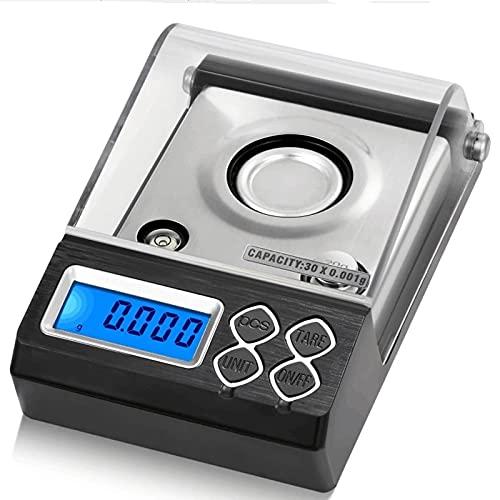 Escala de cocina digital, alimentos ultra delgados/de cocción/para hornear, 50/0.001g, alta precisión de tara fácil y limpia