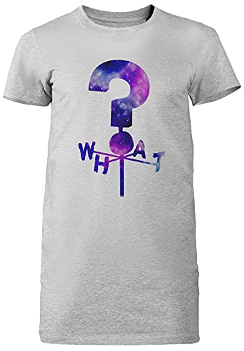 The Mystery What Shack Question Mark Gris Mujer Vestido Largo Camiseta Tamaño M Grey Dress Long Women's tee Size Size M