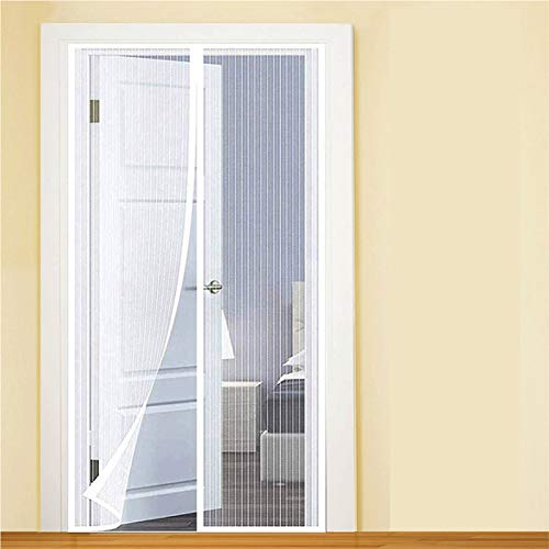 YIFANDU Mosquitera Puerta Magnética 95x240cm Manos Libres Mosquiteras Puerta Magnética Dejar Pasar el Aire Fresco para Ventanas de Puerta, Blanco