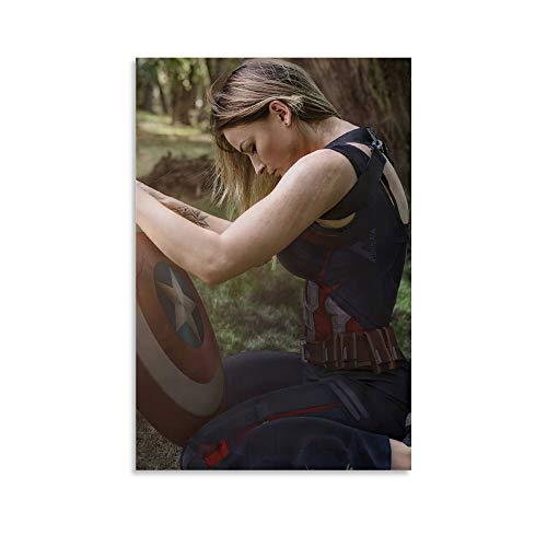 NUOMANAN Patrón de arte mural Capitán América Superhéroe película 30 x 45 cm, decoración de lujo para sala de estar decoración del hogar sin marco/enmarcar