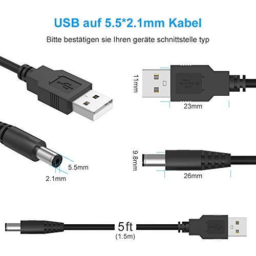 Newding USB Kabel auf 5V DC Hohlstecker 10 in 1 Stecker, Universal Netzkabel mit (5.52.5mm, 4.81.7mm, 4.01.7mm, 4.01.35mm, 3.51.35mm, 2.50.7mm, 3.01.1mm, Micro, Type C, Mini USB Cable)