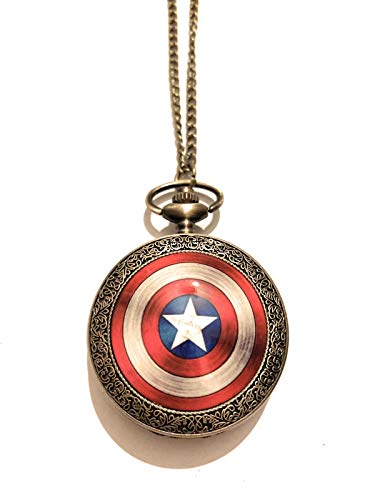 giulyscreations Collana Orologio Metallo Nichel Free Captain America Scudo Capitan America Supereroi Avengers The Winter Soldier Steve Rogers Fantasy Cosplay