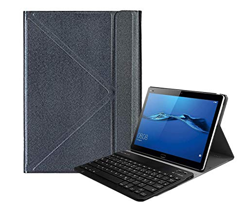 Tiamu Funda para tablet + teclado inalámbrico para Teclast P20HD M40 IPlay20 / PRO para 9,7-10,4 pulgadas universal (gris oscuro)